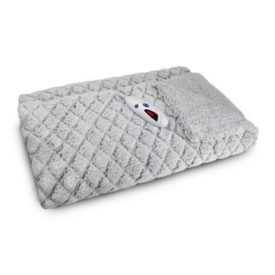 "62"" x 50"" Electric Sherpa Throw Gray Diamond - Biddeford Blankets"