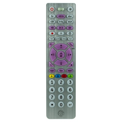 GE Ultra Pro Universal Remote Control, 6 Device, Advanced Streaming - Brushed Silver