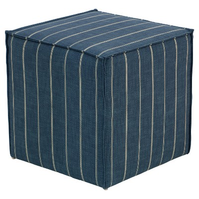 Miles French Seam Cocktail Ottoman   Fritz Indigo   Skyline Furniture :  Target