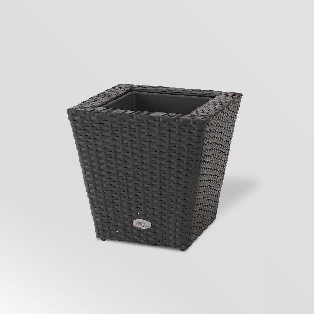 "Image of ""14"""" Resin Wicker Square Vista Planter Black - DMC Products"""