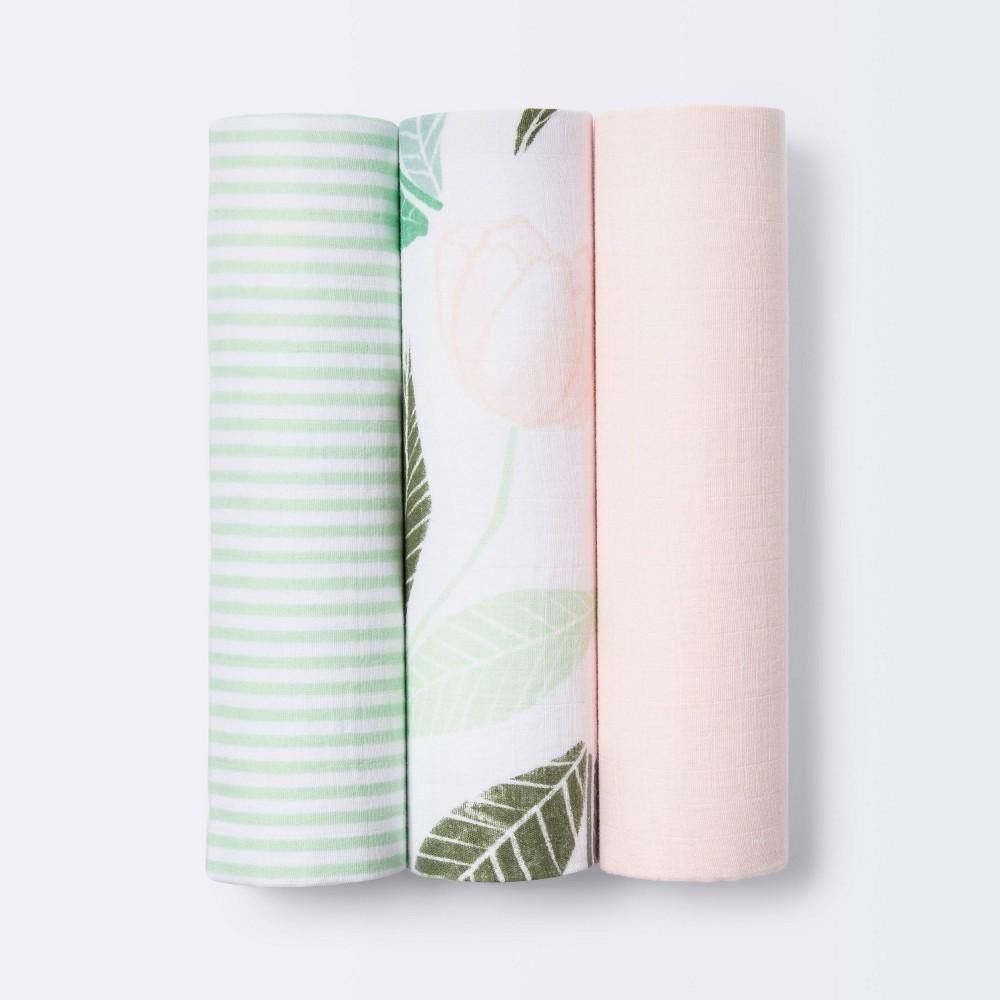 Muslin Swaddle Blankets Blooms Cloud Island 8482 Pink 3pk