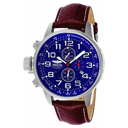 Men's Invicta Force 3328 Stainless Steel Leather Quartz Chronograph Strap Watch - Brown/Blue - image 1 of 1
