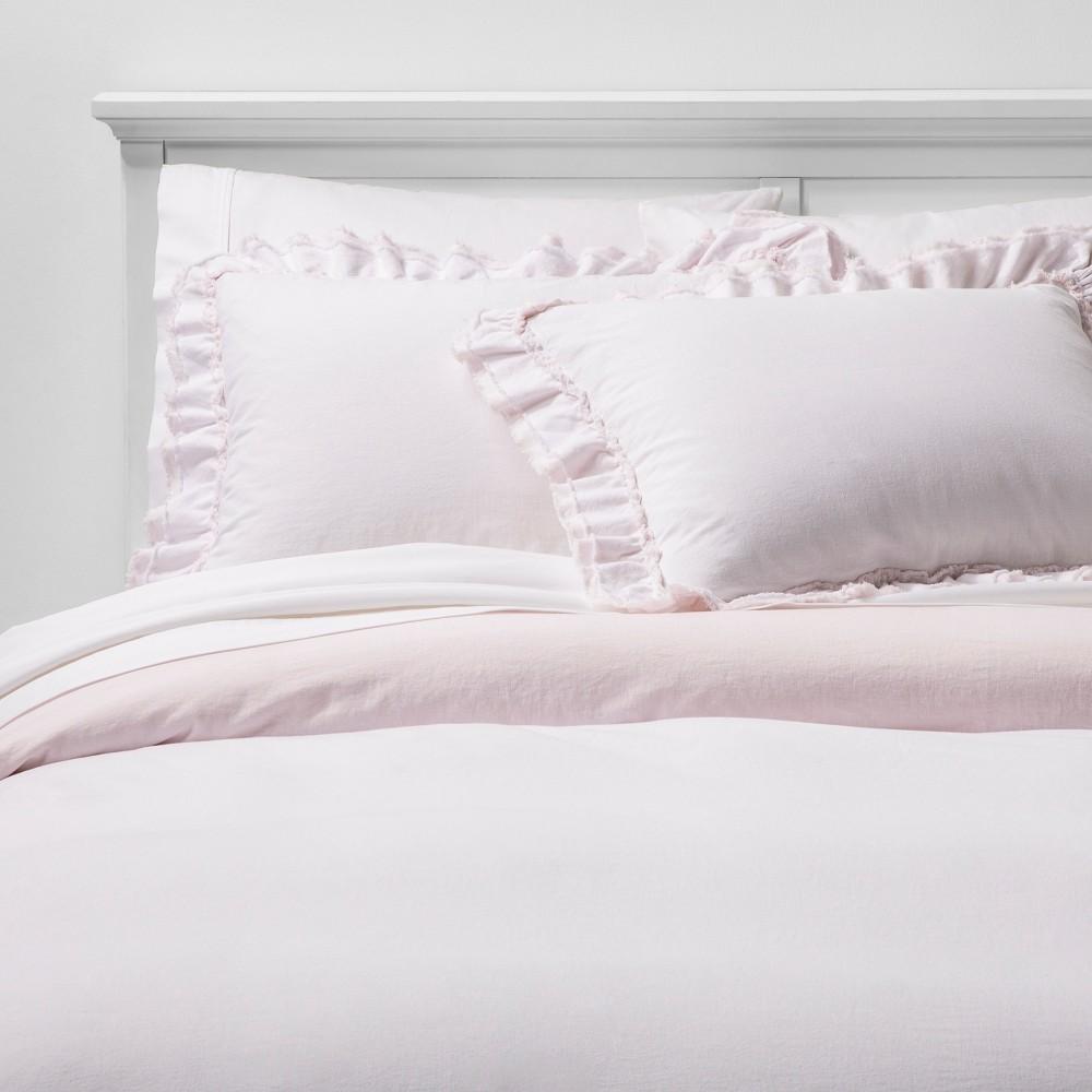 Full/Queen Ruffle Edge Duvet & Sham Set Pink - Simply Shabby Chic