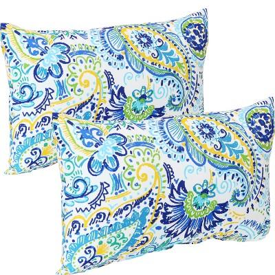 """12"""" x 20"""" Lumbar Decorative Outdoor Pillow - Set of 2 - Aqua Paisley - Sunnydaze Decor"""