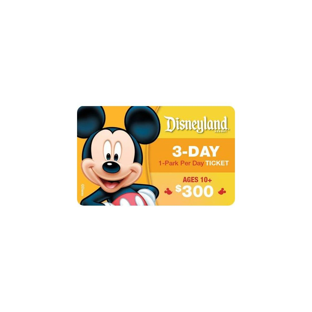 Disneyland California 3 Day 1 Park $300 Prepaid Card (Ages 10 and above)