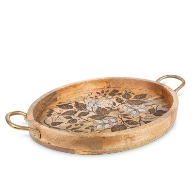 GG Collection Mango Wood with Laser and Metal Inlay Leaf Design Oval Tray with Gold-tone Handles.