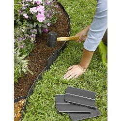 "Easy No- Dig, Pound-In, Interlocking Landscaping Edging Kit 8"" Tall, 20' Long - Gardener's Supply Company"
