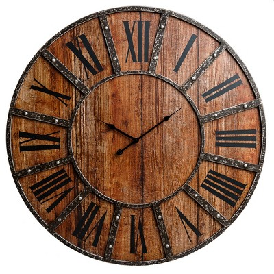 "30"" Rustic Wood Plank and Metal Frameless Farmhouse Wall Clock Brown - Patton Wall Decor"