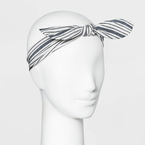 Women's Striped Front Bow Knot Headband - Universal Thread™ Blue One Size - image 1 of 1