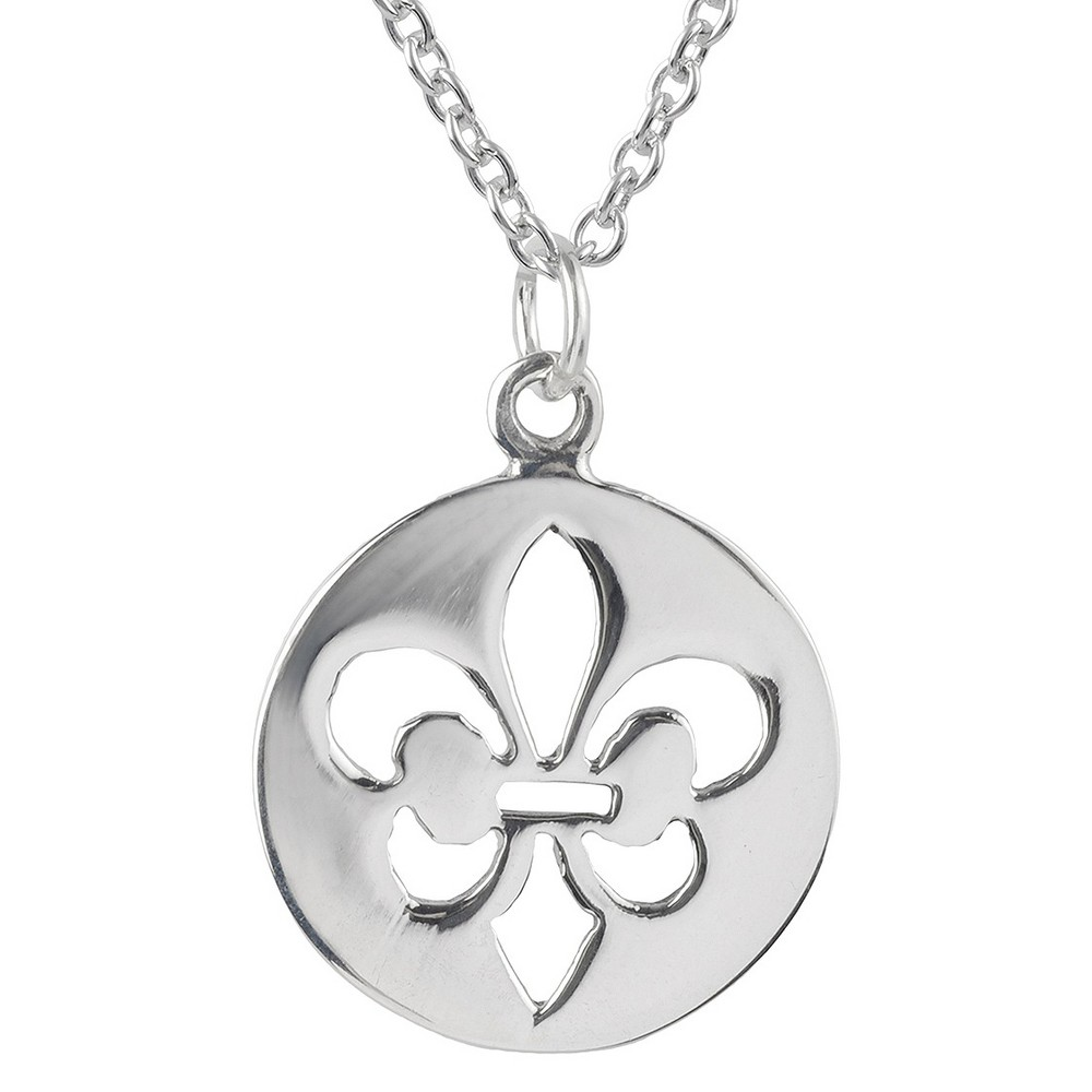 Women's Journee Collection Cut Out Fleur-de-lis Pendant Necklace in Sterliing Silver - Silver (18) Show off your timeless style with this fleur-de-lis pendant from Journee Collection. This necklace is made of sterling silver and features a cut-out fleur-de-lis emblem in a circle pendant. An 18-inch cable chain secures this accessory with elegance. Gender: Female. Age Group: Adult.