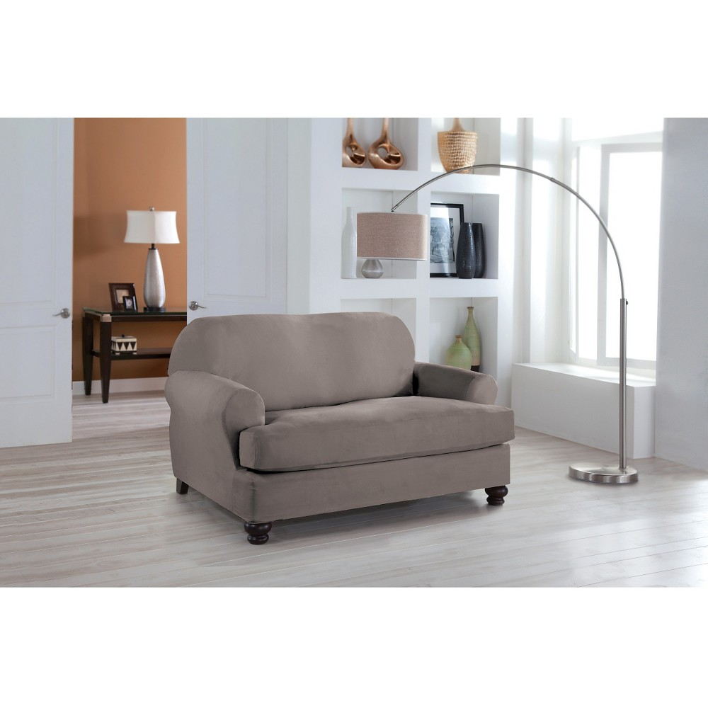 Image of Gray Stretch Fit Microsuede Loveseat Slipcover - Serta