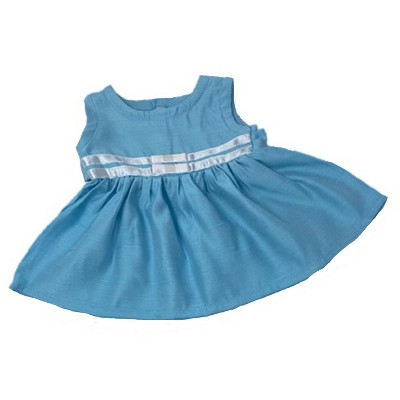 Doll Clothes Superstore Baby Doll Blue Dress With White Ribbon Trim Fits 15-16 Inch Baby Dolls