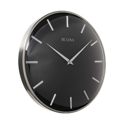 Bulova C4849 Metro 16 Inch Contemporary Metal Quartz Movement Wall Clock with Protective Convex Glass Lens, Satin Pewter/Matte Black
