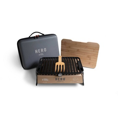 HERO Portable Charcoal Grill System with Case Black Model FFG3-  Fire & Flavor