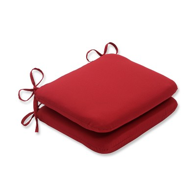 2-Piece Outdoor Seat Pad/Dining/Bistro Chair Cushion Set - Red