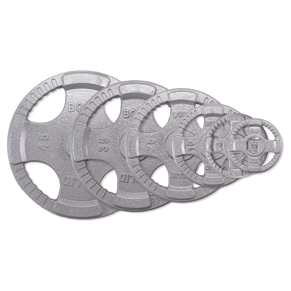 Body Solid Olympic Grip Plates - Gray - (OST255), Silver