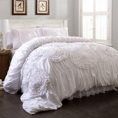King 3pc Serena Comforter Set White - Lush Décor