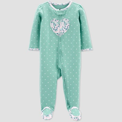 Baby Girls' Heart Sleep N' Play - Just One You® made by carter's Mint 6M