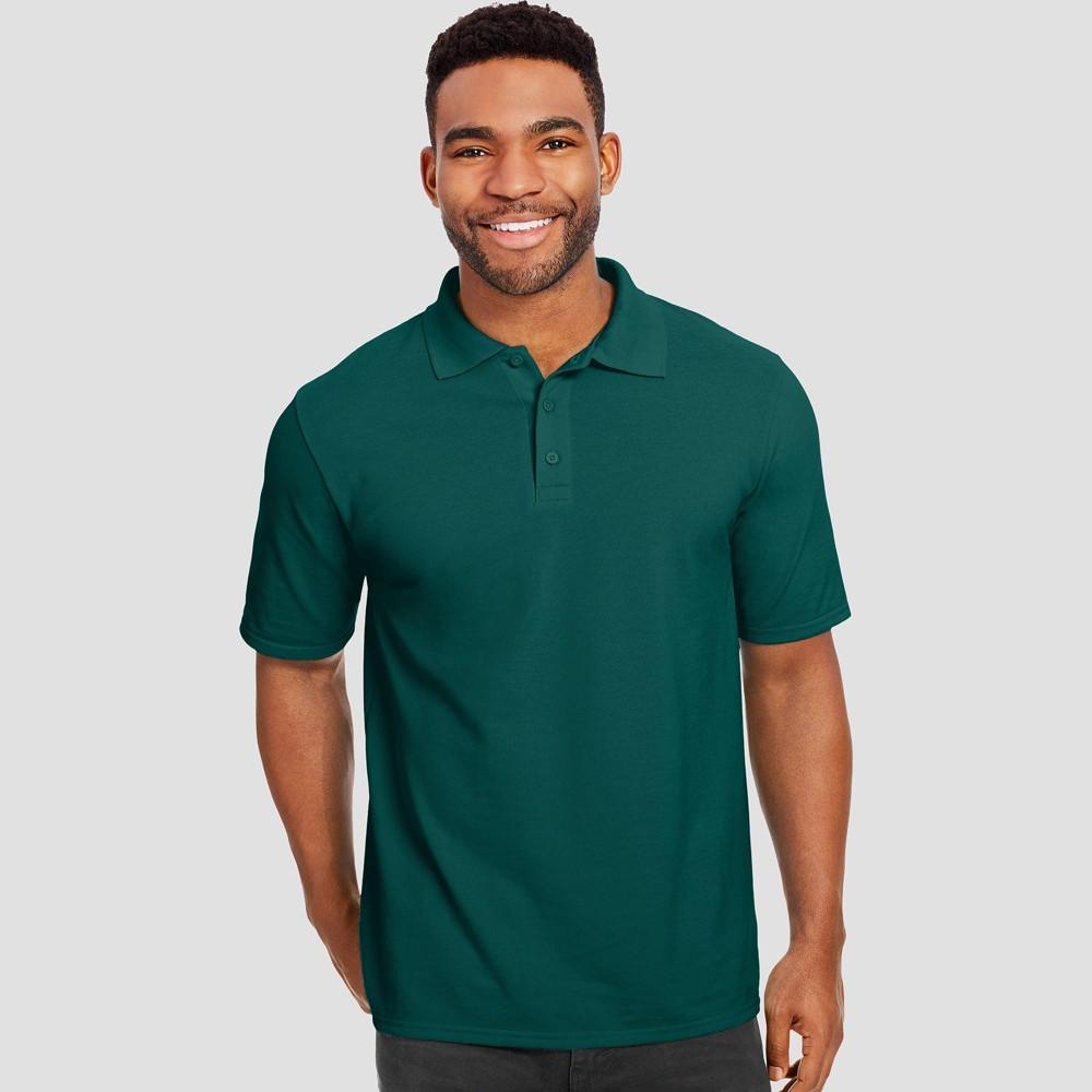 Hanes Men's Short Sleeve X-Temp Performance Pique Polo Shirt - Forest (Green) L