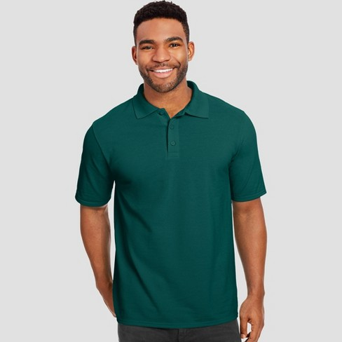 Hanes Men's X-Temp Performance Pique Polo Short Sleeve Shirt - Dark Green L