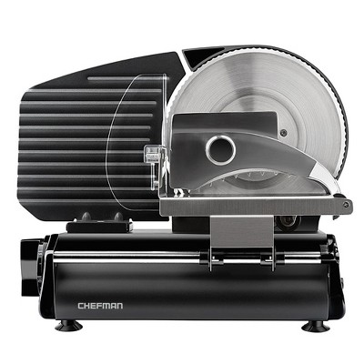 Chefman RJ49-BLACK-V2 Electric Stainless Steel Die Cast Aluminum Kitchen Deli & Food Slicer with Adjustable Cutting Dial and Safe Non-Slip Feet, 180W