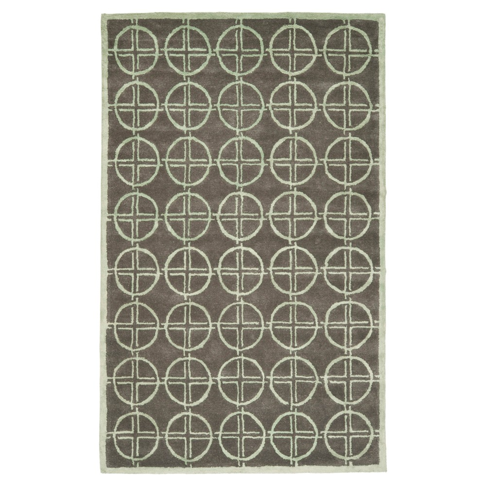 Brown/Gold Geometric Tufted Accent Rug - (3'6
