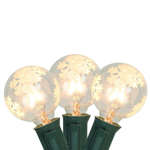 Northlight 10ct Snowflake G40 Globe Christmas Lights Clear - 9' Green Wire - image 1 of 2