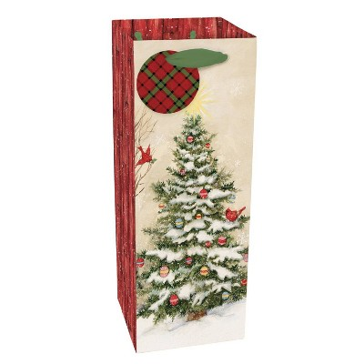 1ct Evergreen Christmas Bottle Gift Bag