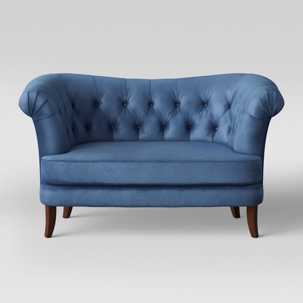 Juno Tufted Rollback Loveseat Velvet Cobalt (Blue) - Opalhouse