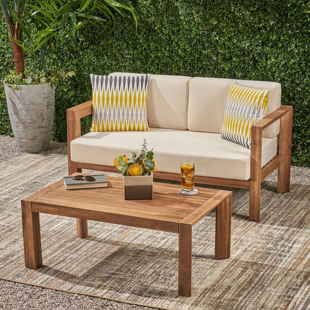 Image of 2pc Genser Wooden Patio Loveseat and Coffee Table Set Brown - Christopher Knight Home