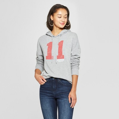 Women's Stranger Things 11 Graphic Hoodie (Juniors') Gray L