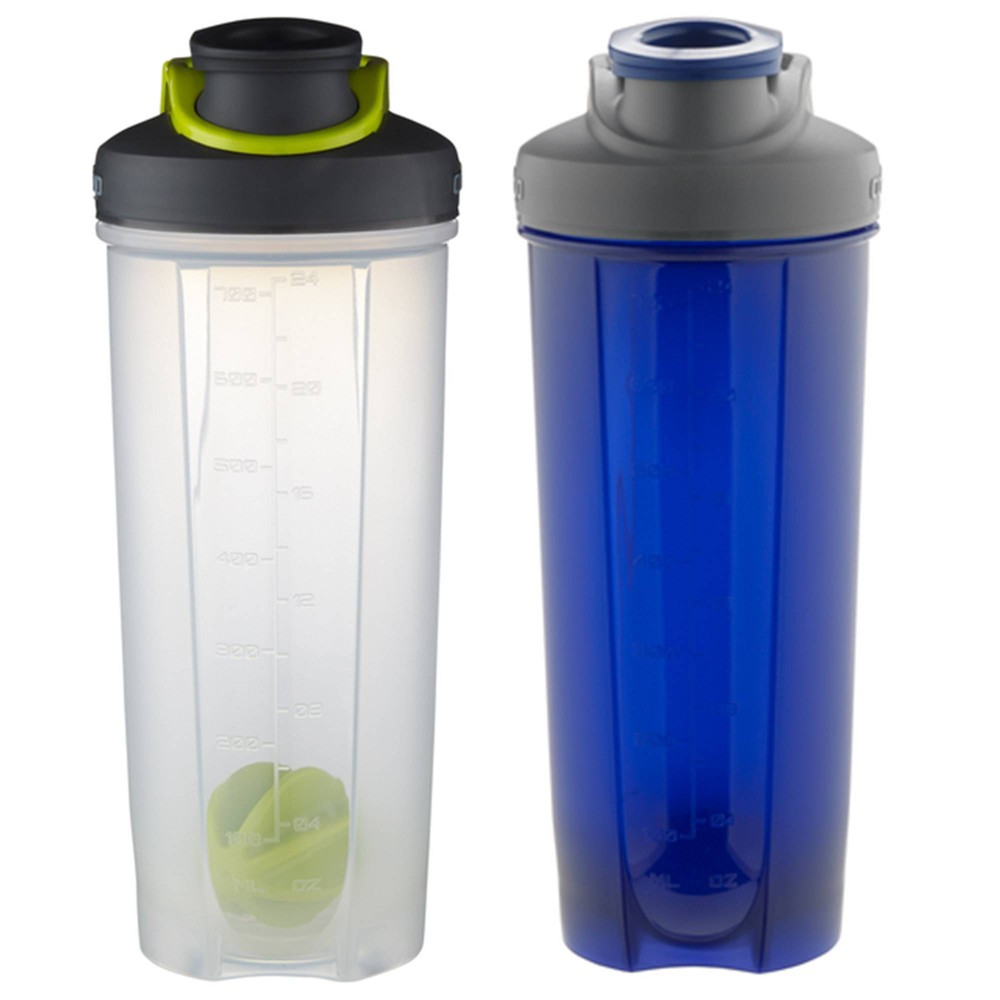 Image of Contigo 28oz 2pk Plastic Shake & Go Fit Green/ Blue