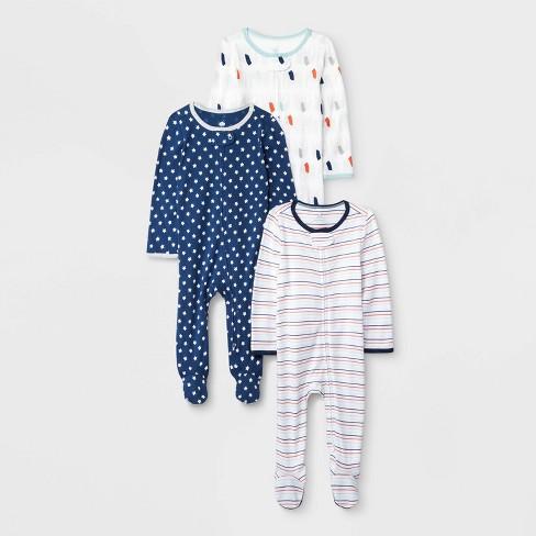 Baby 3pk Little Peanut Zip Sleep N' Play Pajama - Cloud Island™ - image 1 of 1