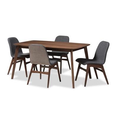 Baxton Studio 5pc Embrace Mid Century Modern Walnut Finished Wood Fabric  Upholstered Dining Set Dark Gray Brown