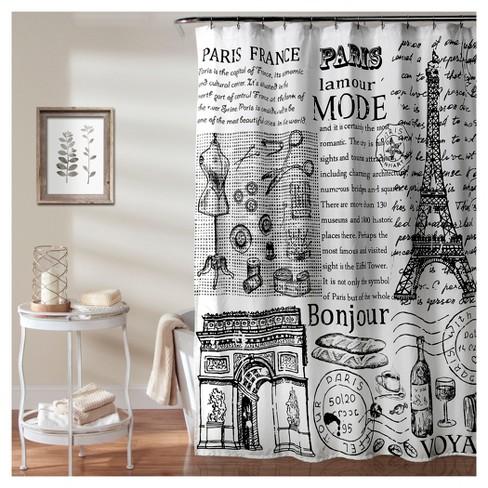 Paris France Shower Curtain Blackwhite Lush Decor Target