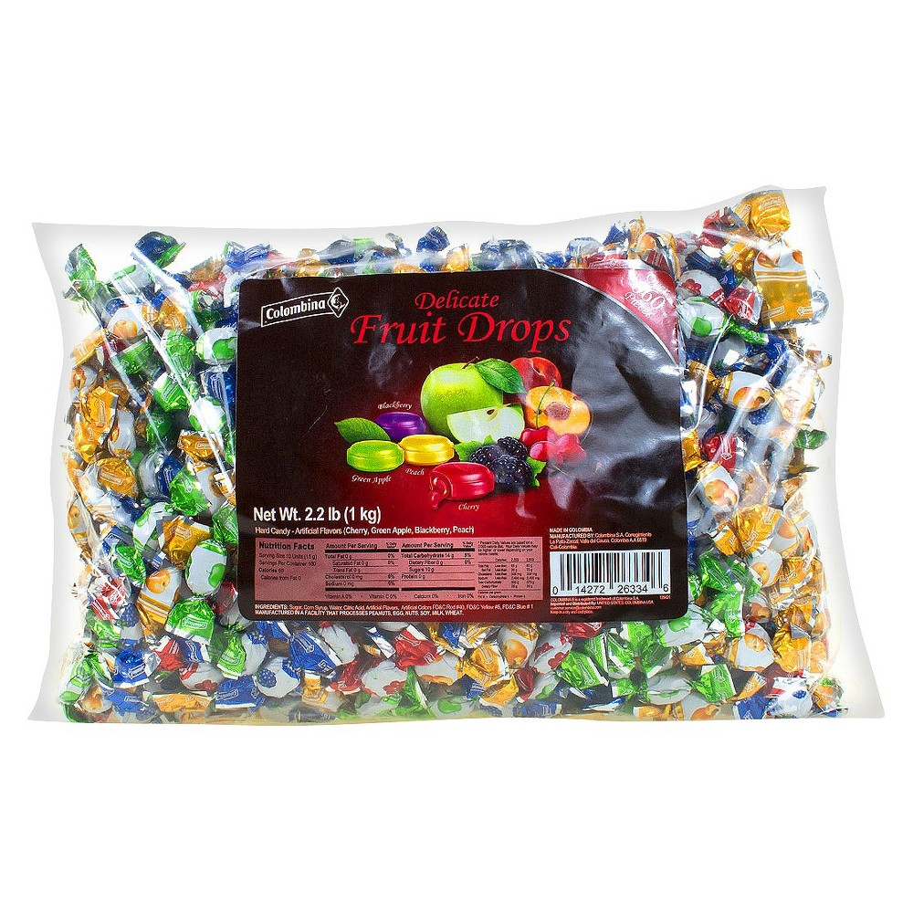 Colombina Delicate Fruit Drops Mini Assorted Flavors Fruit Filled Hard Candies - 35.2oz, Multi-Colored