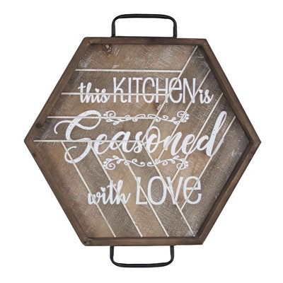 This Kitchen Is Seasoned With Love  Wood And Metal Wall Sign Brown - E2 Concepts