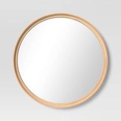 """26"""" Classic Round Wood Mirror Natural - Threshold™"""