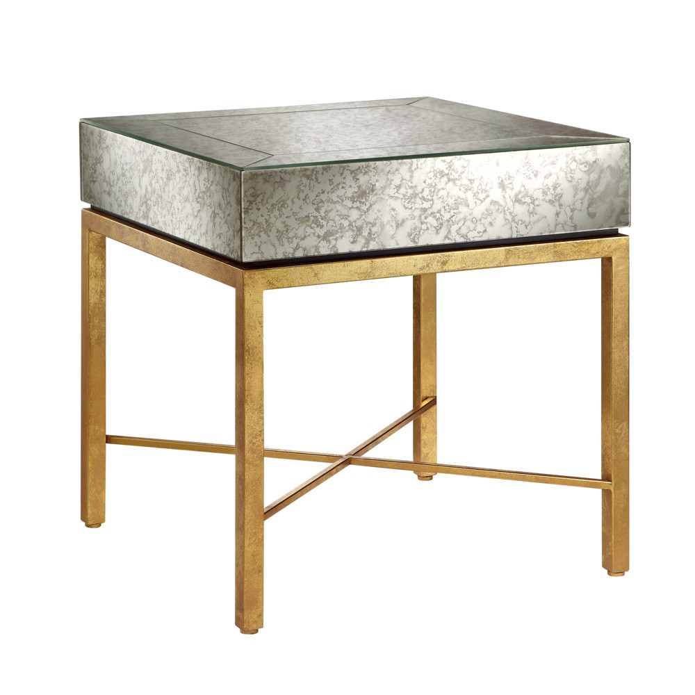 Harper End Table - Mirror/Gold