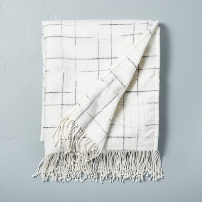 Checkered Fringe Throw Blanket Gray/Sour Cream - Hearth & Hand™ with Magnolia