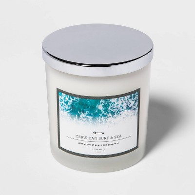 20oz Lidded Milky Glass Jar 3-Wick Cerulean Surf and Sea Candle - Threshold™