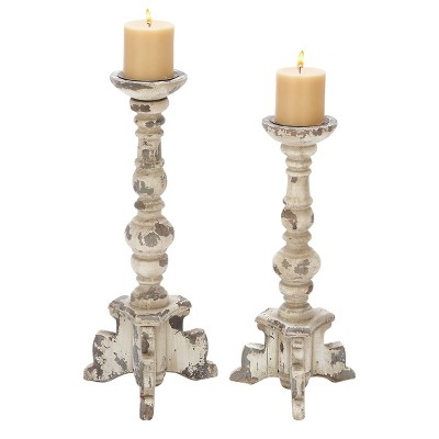 Set of 2 Classic Distressed Wooden Candle Holders White - Olivia & May