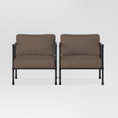 Fernhill 2pk Metal Patio Club Chairs - Taupe - Threshold™