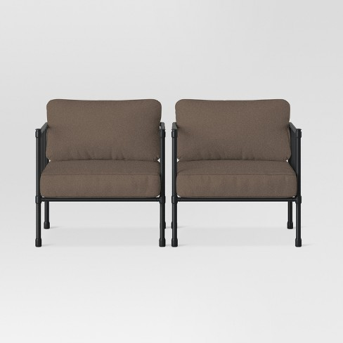 Fernhill 2pk Metal Patio Club Chairs - Taupe - Threshold™ - image 1 of 3