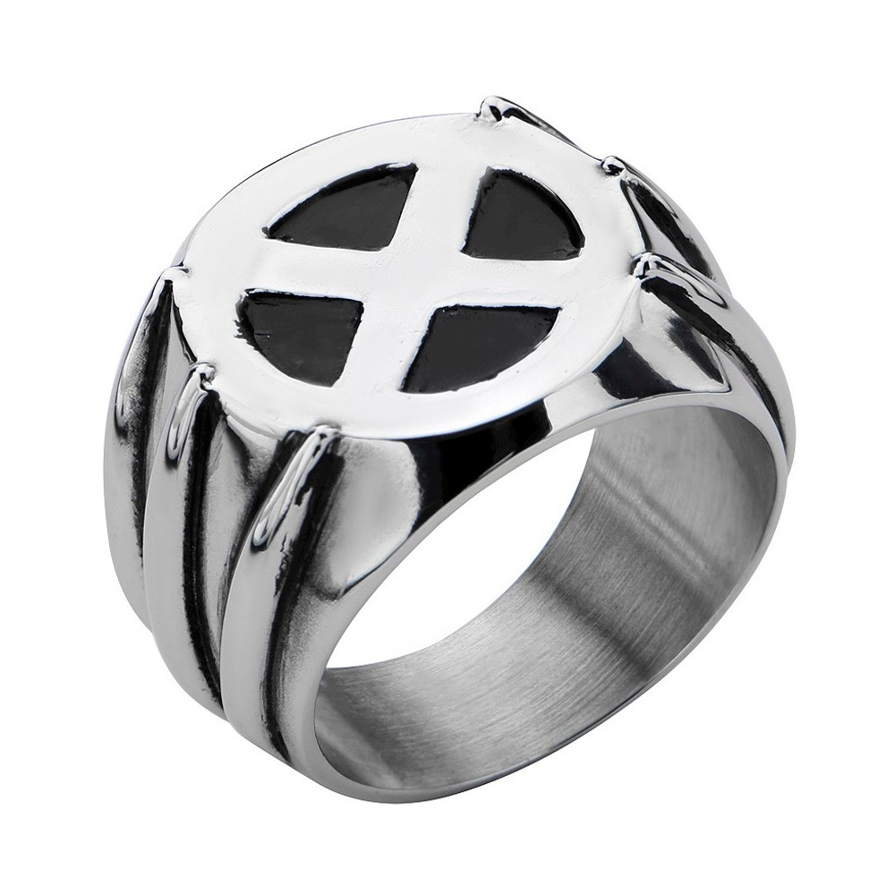 Men's Marvel Xmen Wolverine Stainless Steel Claw Ring with Xmen Logo, Size: 9, Silver
