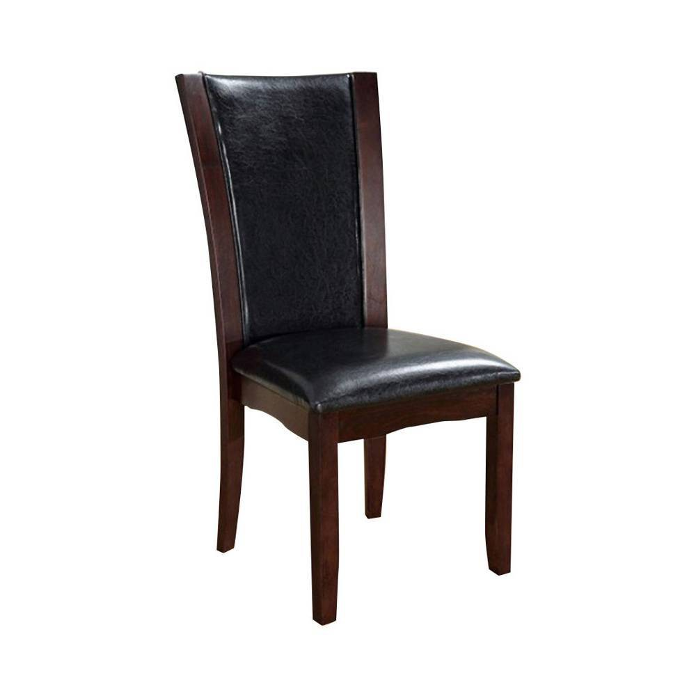 Promos Set of 2 Contemporary Manhattan Side Chairs with Faux Leather  - Benzara