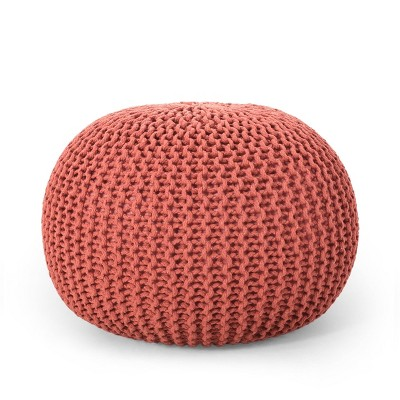 Nahunta Modern Knitted Cotton Round Pouf Coral - Christopher Knight Home