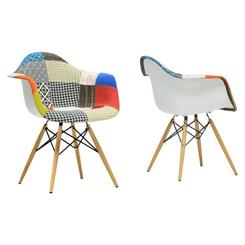 Lia Mid-Century Style Dining Chair - Patchwork (Set Of 2) - Baxton Studio - image 1 of 1