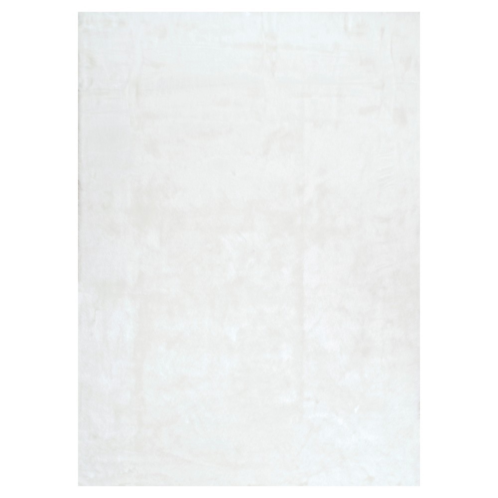 White Solid Loomed Round Area Rug - (5') - nuLOOM, Ivory