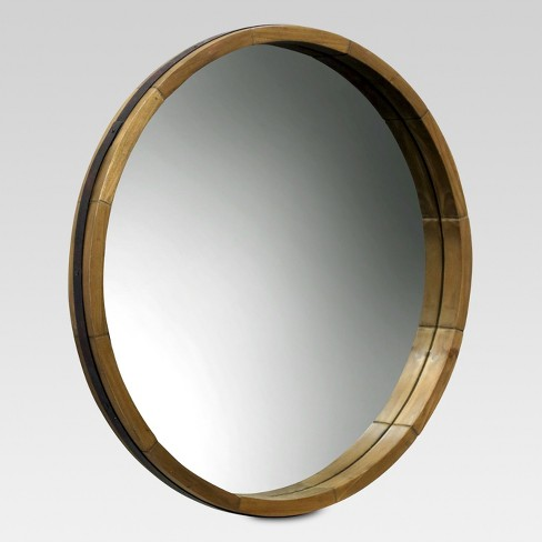 Round Decorative Wall Mirror Wood Barrel Frame - Threshold™ : Target